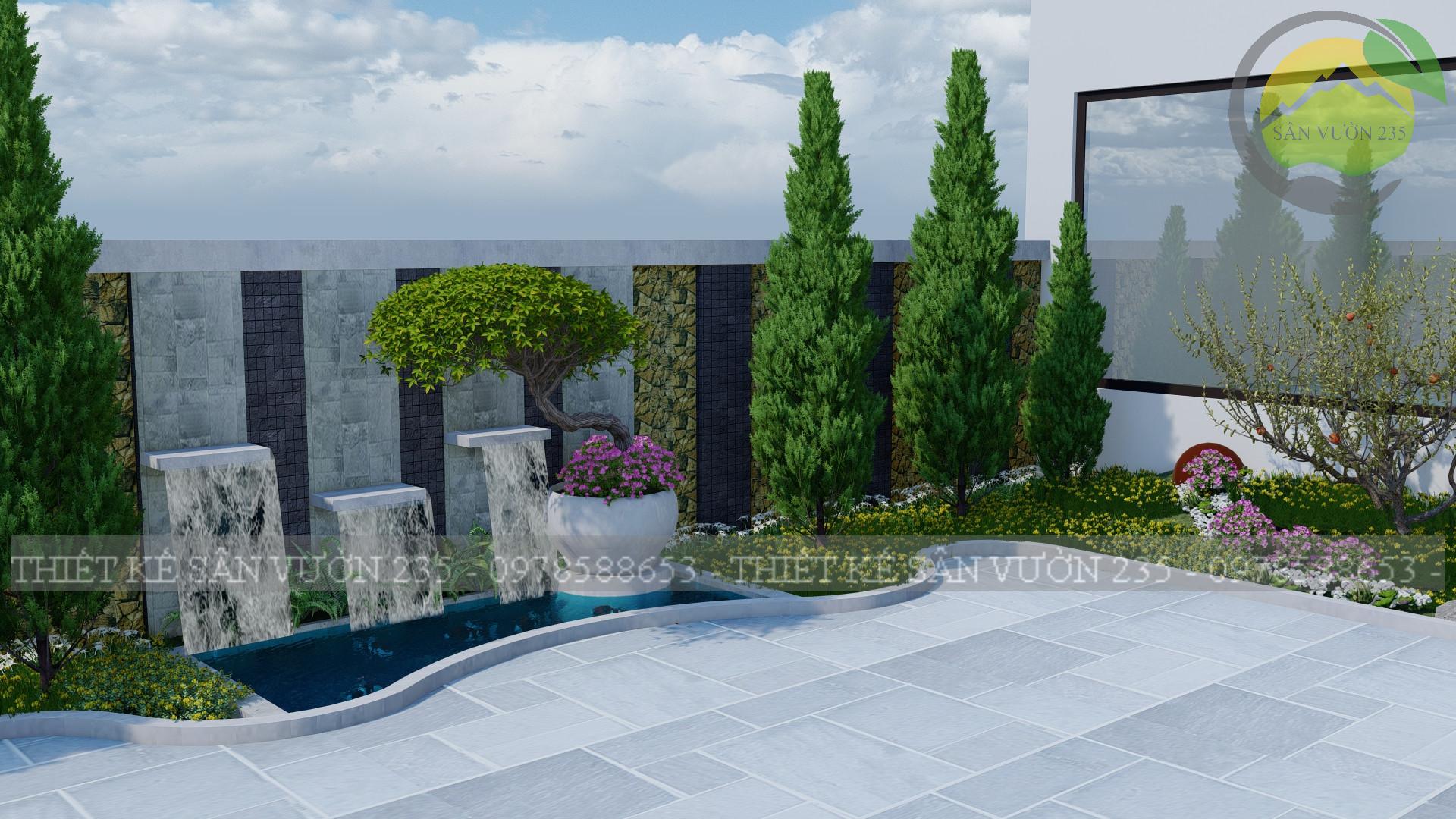 mẫu thiết kế tiểu cảnh sân vườn trước nhà