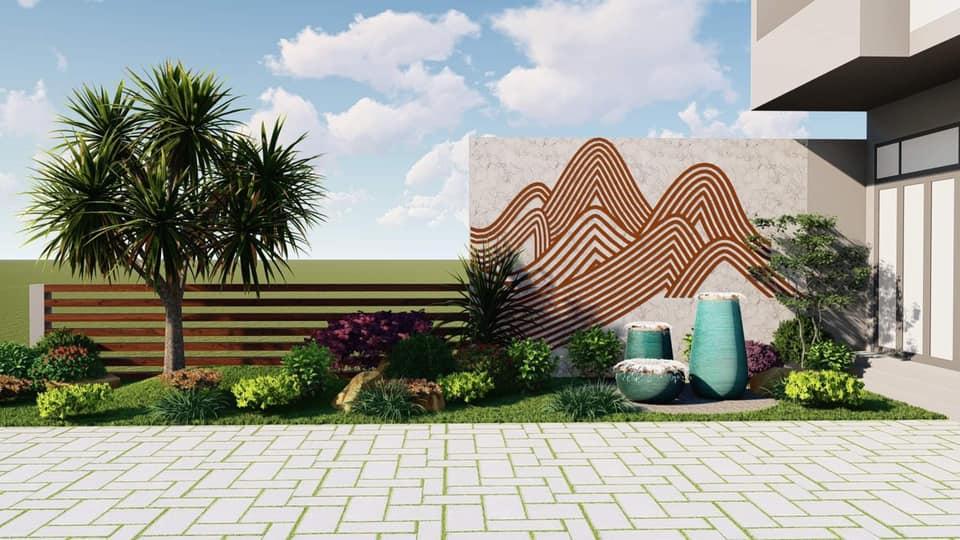 Tiểu cảnh sân vườn trước nhà