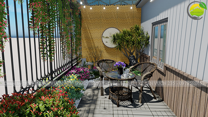Mẫu thiết kế tiểu cảnh vườn sân thượng tại Ba Đình Hà Nội 1