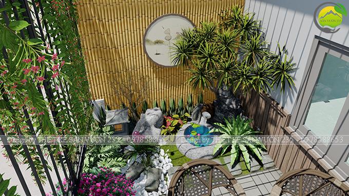 Mẫu thiết kế tiểu cảnh vườn sân thượng tại Ba Đình Hà Nội 2