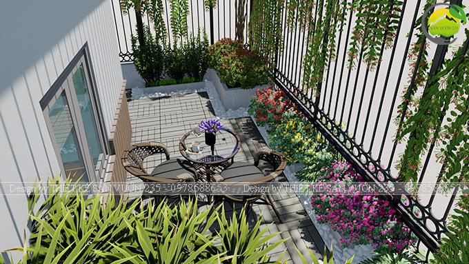 Mẫu thiết kế tiểu cảnh vườn sân thượng tại Ba Đình Hà Nội 3