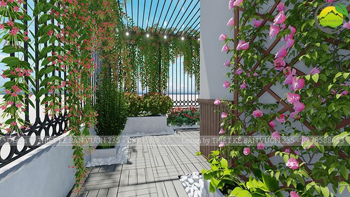Mẫu thiết kế tiểu cảnh vườn sân thượng tại Ba Đình Hà Nội 5