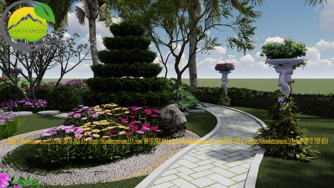 Mẫu sân vườn trước nhà đẹp