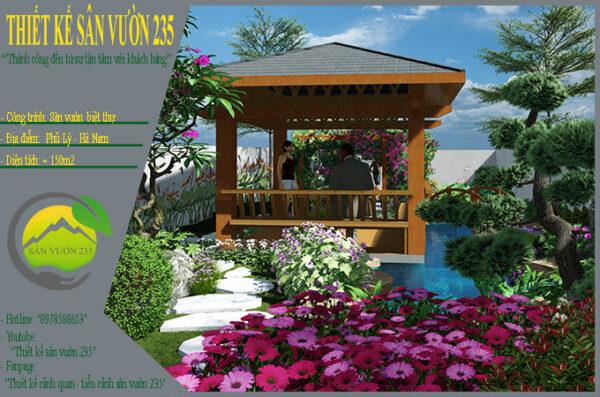 Mẫu thiết kế sân vườn 150m2 tại Phủ Lý - Hà Nam
