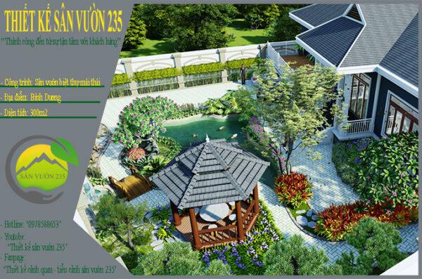 Mẫu thiết kế sân vườn 300m2 tại Bình Dương