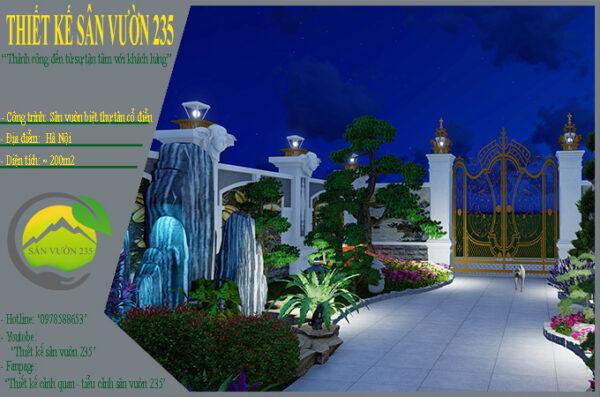 Mẫu thiết kế sân vườn 200m2 biệt thự cổ điển tại Hà Nội