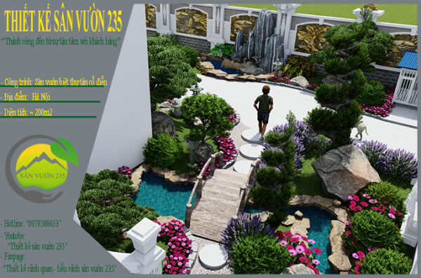 Mẫu thiết kế sân vườn biệt thự cổ điển tại Hà Nội 300m2