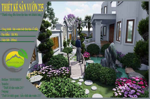 Mẫu thiết kế sân vườn biệt thự tân cổ điển tại Hà Nội