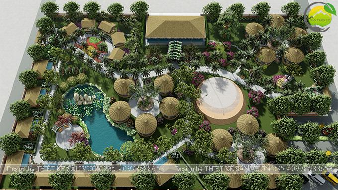 Mẫu thiết kế sân vườn cafe tại Quốc Oai - Hà Nội 1