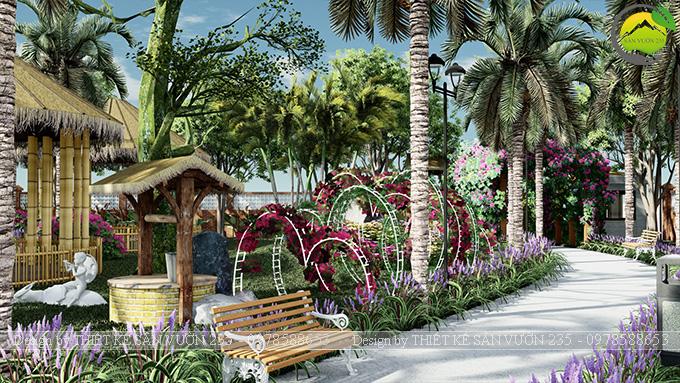 Mẫu thiết kế sân vườn cafe tại Quốc Oai - Hà Nội 12