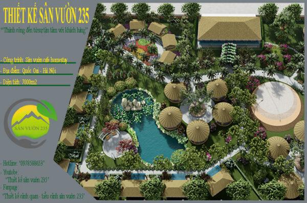 Mẫu thiết kế sân vườn cafe tại Quốc Oai - Hà Nội