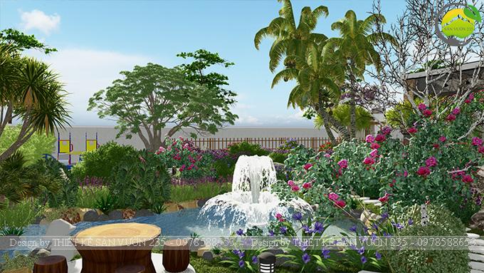 Mẫu thiết kế sân vườn nhà hàng tại Hà Nam 1