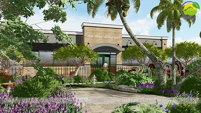 Mẫu thiết kế sân vườn nhà hàng tại Hà Nam 2