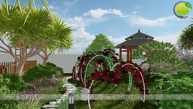 Mẫu thiết kế sân vườn nhà hàng tại Hà Nam 3