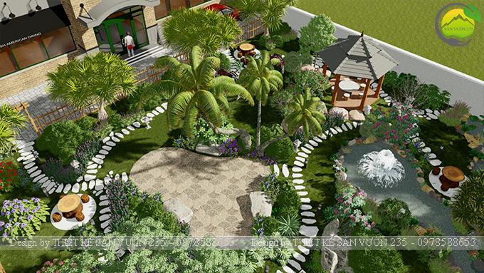 Mẫu thiết kế sân vườn nhà hàng tại Hà Nam 4