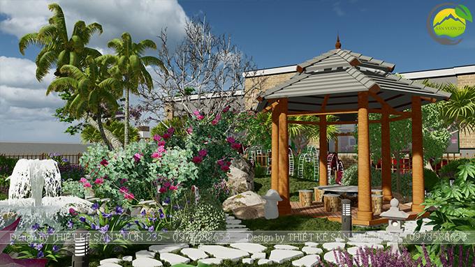 Mẫu thiết kế sân vườn nhà hàng tại Hà Nam 6