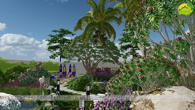 Mẫu thiết kế sân vườn nhà hàng tại Hà Nam 7