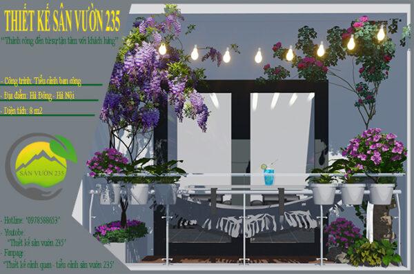 Mẫu thiết kế tiểu cảnh ban công chung cư tại Hà Đông