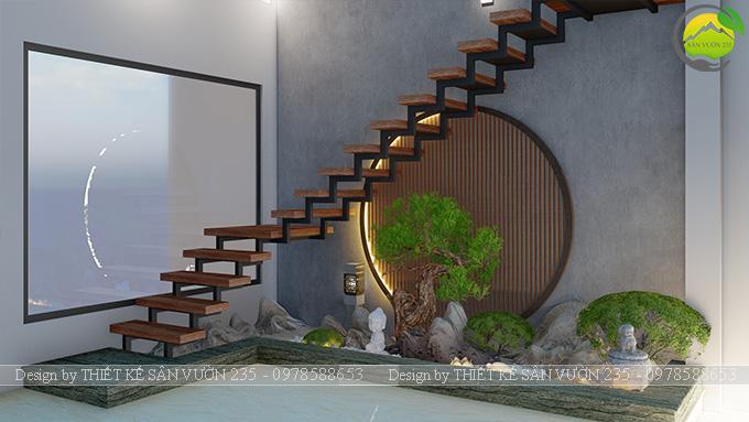 Mẫu thiết kế tiểu cảnh gầm cầu thang tại Sài Gòn 2
