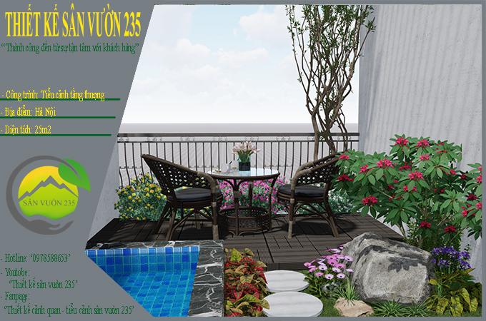 Mẫu thiết kế tiểu cảnh sân thượng tại Thanh Xuân - Hà Nội