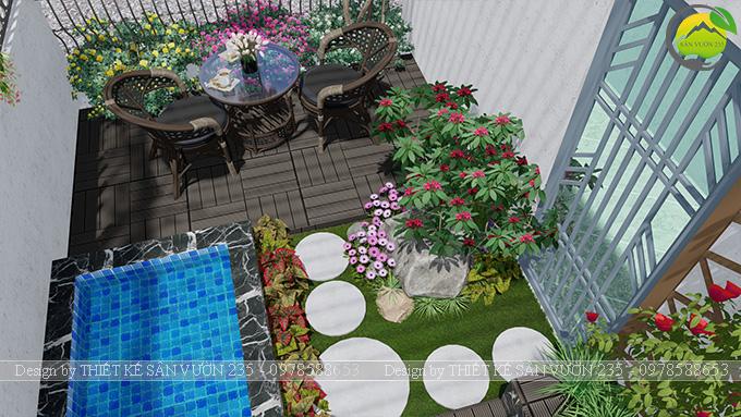 Mẫu thiết kế tiểu cảnh sân thượng tại Thanh Xuân - Hà Nội 1