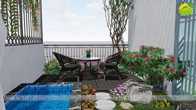 Mẫu thiết kế tiểu cảnh sân thượng tại Thanh Xuân - Hà Nội 2