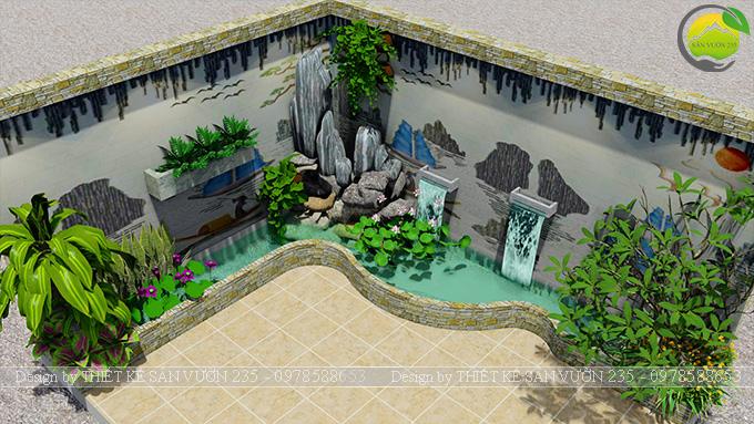 Mẫu thiết kế tiểu cảnh trang trí tường tại Sai Gòn 5