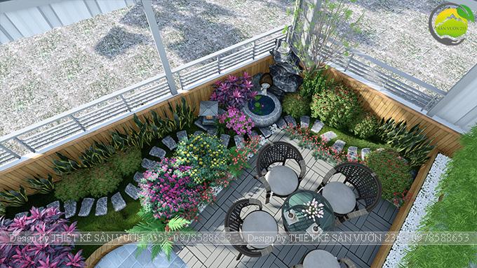 Mẫu thiết kế tiểu cảnh vườn sân thượng tại Vĩnh Phúc 1