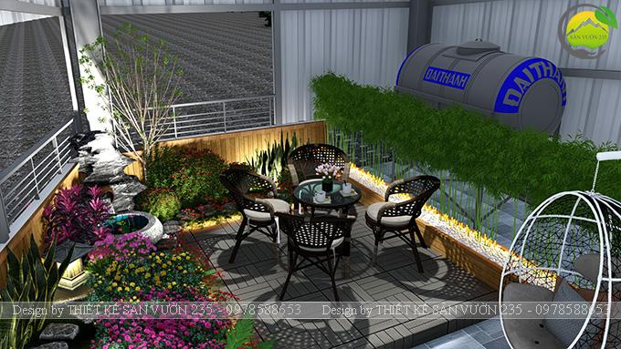 Mẫu thiết kế tiểu cảnh vườn sân thượng tại Vĩnh Phúc 10