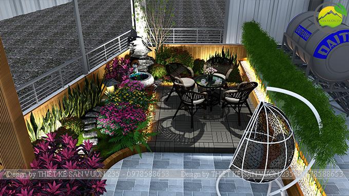 Mẫu thiết kế tiểu cảnh vườn sân thượng tại Vĩnh Phúc 12