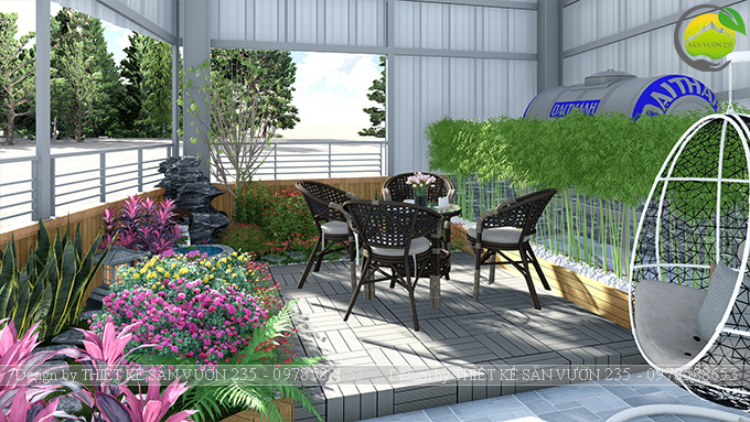 Mẫu thiết kế tiểu cảnh vườn sân thượng tại Vĩnh Phúc 5