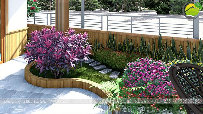 Mẫu thiết kế tiểu cảnh vườn sân thượng tại Vĩnh Phúc 6