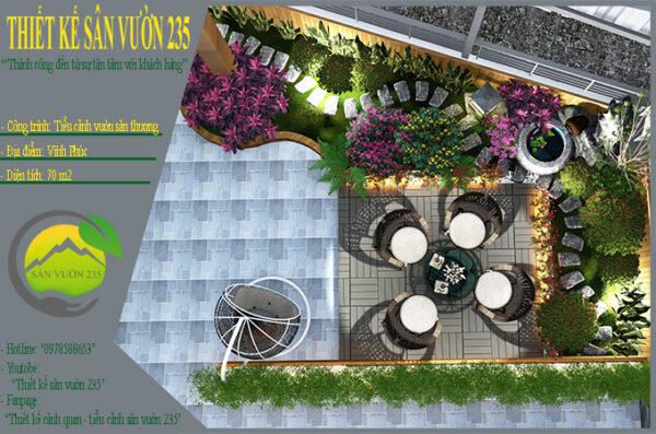 Mẫu thiết kế tiểu cảnh vườn sân thượng tại Vĩnh Phúc