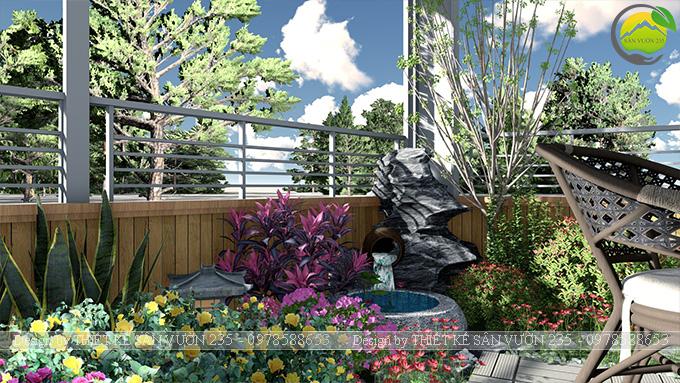 Mẫu thiết kế tiểu cảnh vườn sân thượng tại Vĩnh Phúc 7