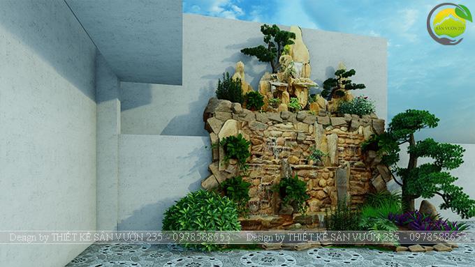 Mẫu thiết kế tiểu cảnh non bộ hồ cá koi 10m2 9