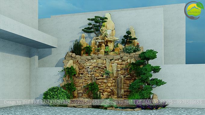 Mẫu thiết kế tiểu cảnh non bộ hồ cá koi 10m2 12
