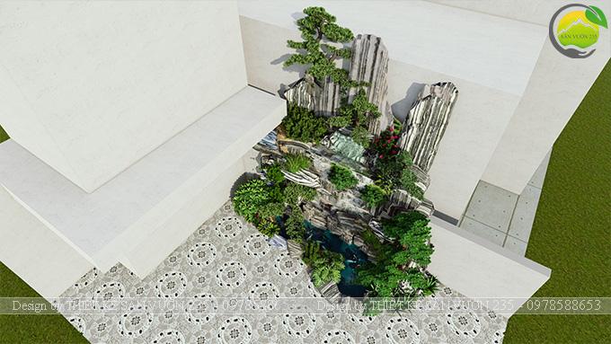 Mẫu thiết kế tiểu cảnh non bộ hồ cá koi 10m2 3