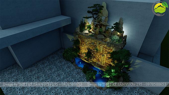 Mẫu thiết kế tiểu cảnh non bộ hồ cá koi 10m2 7
