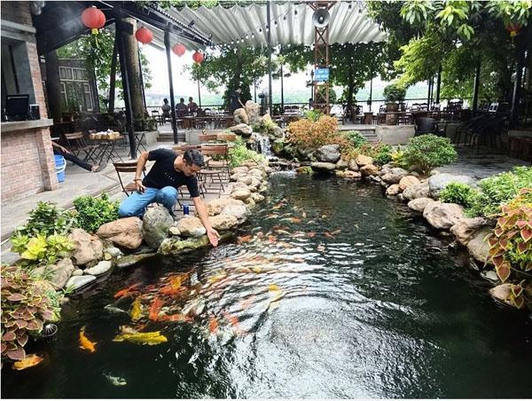 Mẫu thiết kế quán cafe sân vườn hồ cá koi