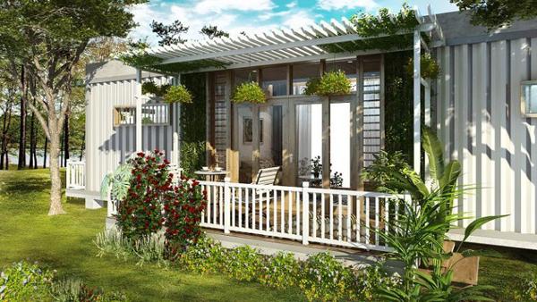 mô hình homestay sân vườn container