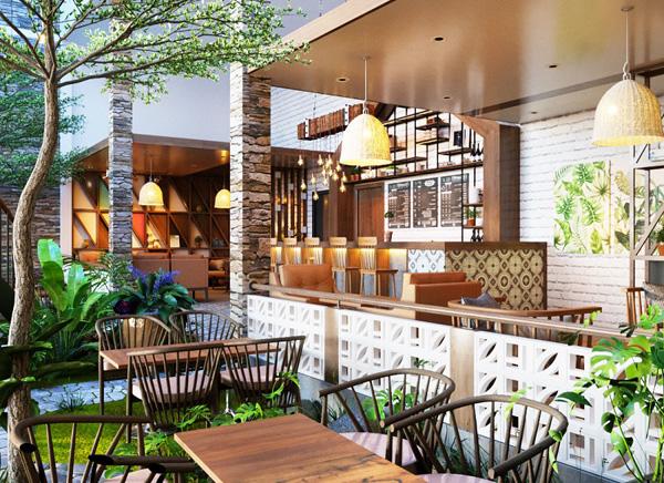 quán cà phê sân vườn đơn giản