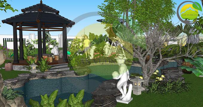 Thiết kế biệt thự sân vườn trước nhà