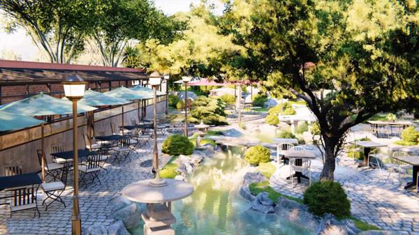 thiết kế sân vườn quán cafe