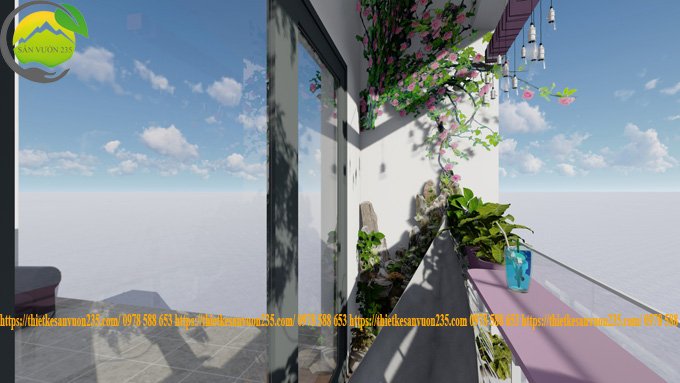 thiết kế tiểu cảnh ban công chung cư tại hà đông